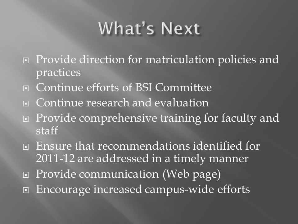 Provide direction for matriculation policies and practices Continue efforts of BSI Committee Continue research and evaluation Provide comprehensive tr