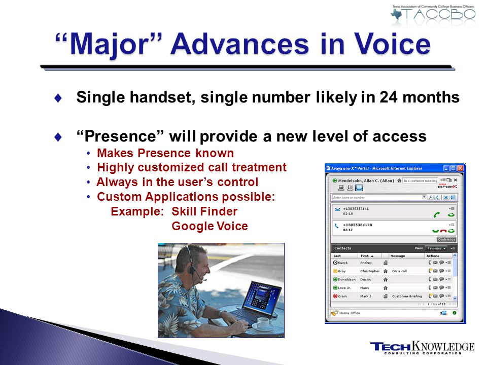 Single handset, single number likely in 24 months Presence will provide a new level of access Makes Presence known Highly customized call treatment Always in the users control Custom Applications possible: Example: Skill Finder Google Voice