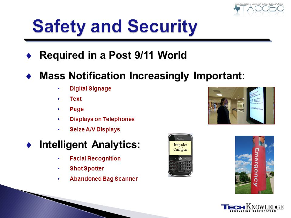 Required in a Post 9/11 World Mass Notification Increasingly Important: Digital Signage Text Page Displays on Telephones Seize A/V Displays Intelligent Analytics: Facial Recognition Shot Spotter Abandoned Bag Scanner Intruder on Campus