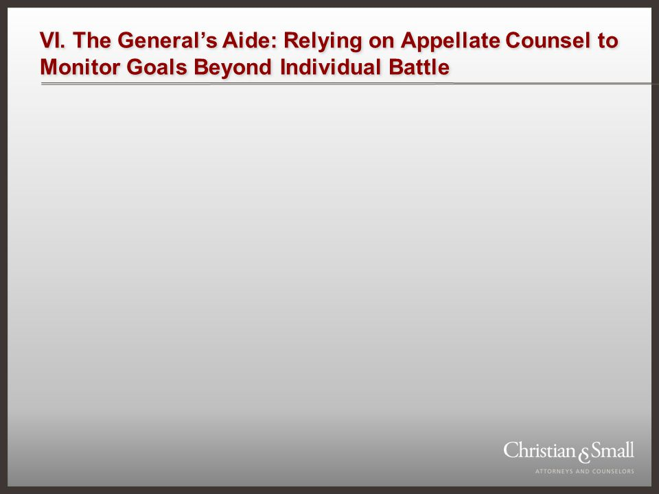 VI. The Generals Aide: Relying on Appellate Counsel to Monitor Goals Beyond Individual Battle
