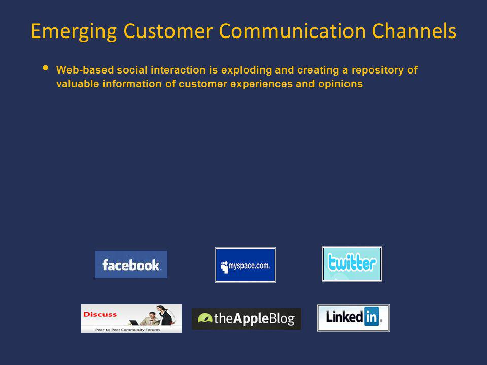Emerging Customer Communication Channels Web-based social interaction is exploding and creating a repository of valuable information of customer experiences and opinions