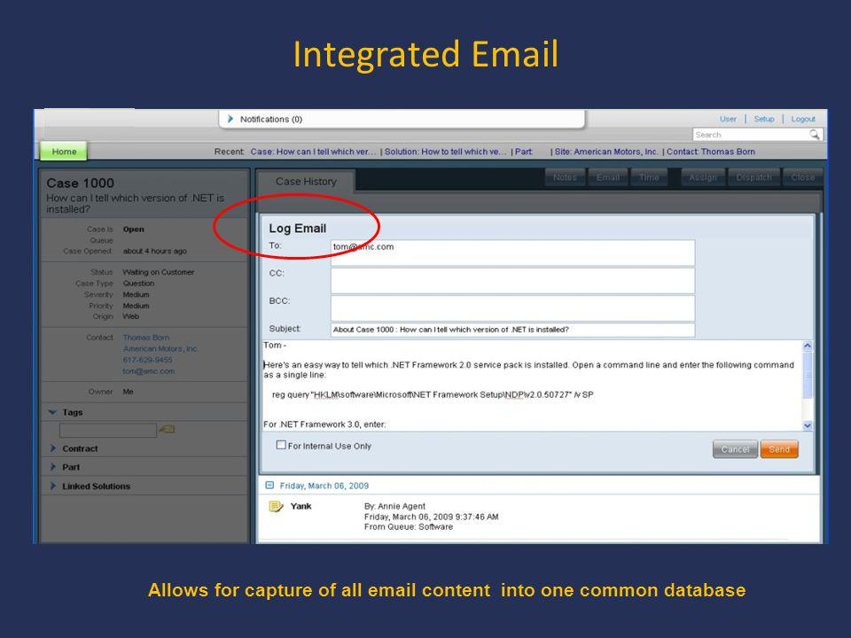Integrated Email Allows for capture of all email content into one common database