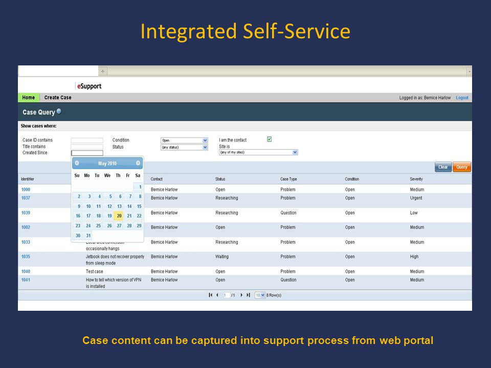 Integrated Self-Service Case content can be captured into support process from web portal