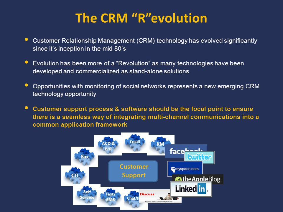 The CRM Revolution Customer Relationship Management (CRM) technology has evolved significantly since its inception in the mid 80s Evolution has been more of a Revolution as many technologies have been developed and commercialized as stand-alone solutions Opportunities with monitoring of social networks represents a new emerging CRM technology opportunity Customer support process & software should be the focal point to ensure there is a seamless way of integrating multi-channel communications into a common application framework Customer Support CTI Fax ACD & IVR ACD & IVR KM Email Chat/IM Self Service Self Service Text/ SMS Text/ SMS