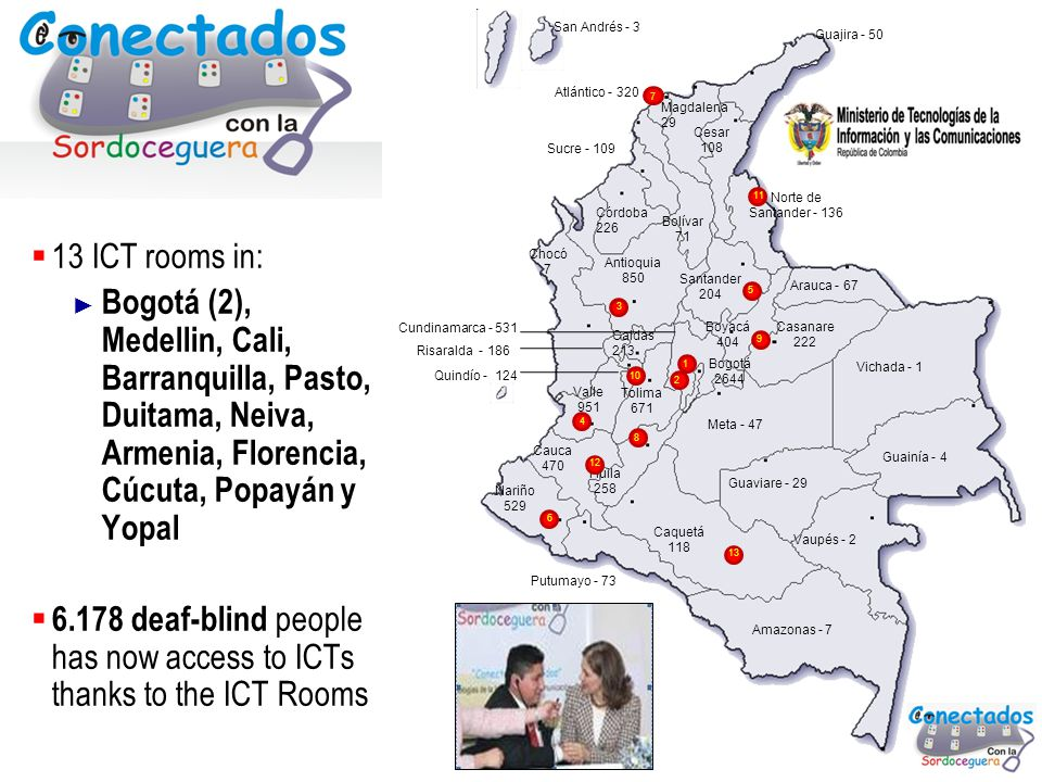 Ministry for Information and Communications Technologies Republic of Colombia 32 13 ICT rooms in: Bogotá (2), Medellin, Cali, Barranquilla, Pasto, Dui