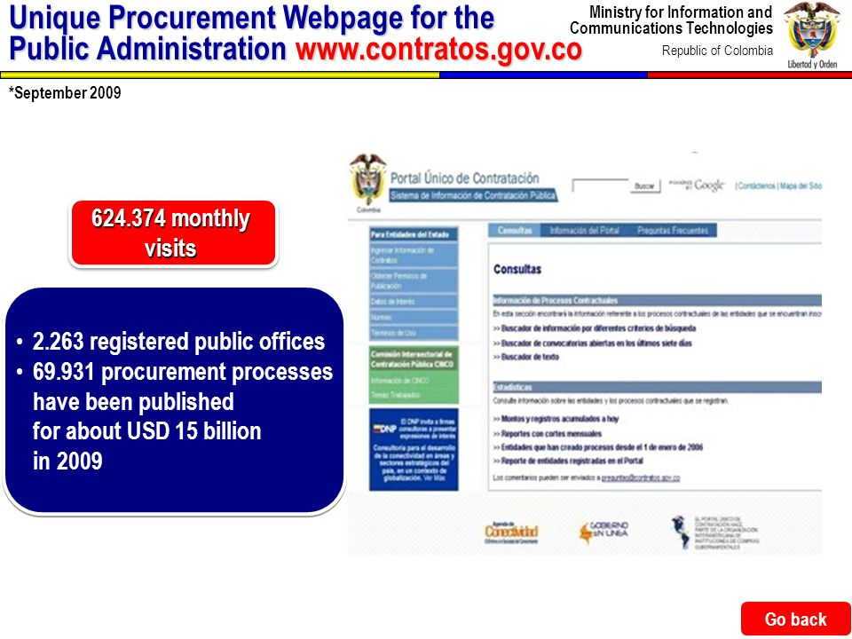 Ministry for Information and Communications Technologies Republic of Colombia 43 Unique Procurement Webpage for the Public Administration www.contrato