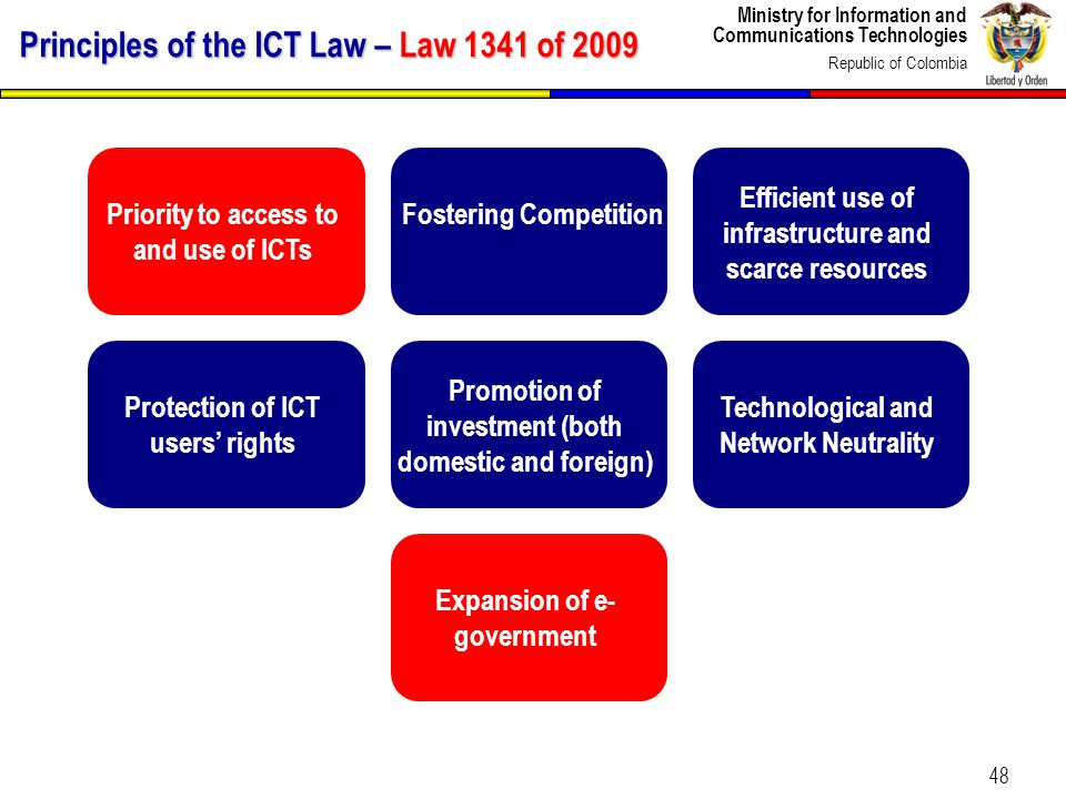 Ministry for Information and Communications Technologies Republic of Colombia 48 Priority to access to and use of ICTs Fostering Competition Efficient