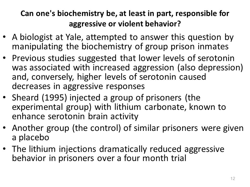 12 Can one s biochemistry be, at least in part, responsible for aggressive or violent behavior.