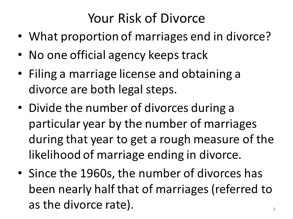 Your Risk of Divorce What proportion of marriages end in divorce.
