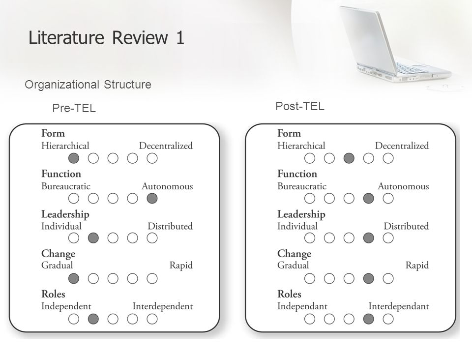 Literature Review 1 Organizational Structure Pre-TEL Post-TEL