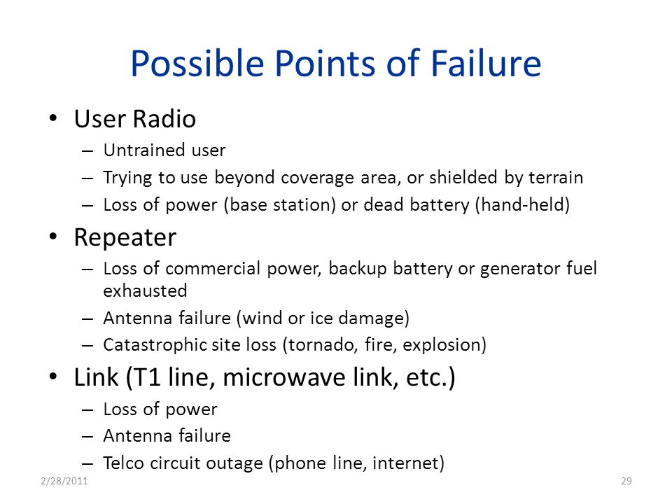 Possible Points of Failure User Radio – Untrained user – Trying to use beyond coverage area, or shielded by terrain – Loss of power (base station) or