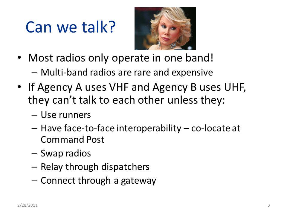 Base Station – Height Improves Range Unit 1 Dispatch Center Unit 2 Unit 3 Unit 4 Dispatcher relays message – heard by all units 2/28/2011 14