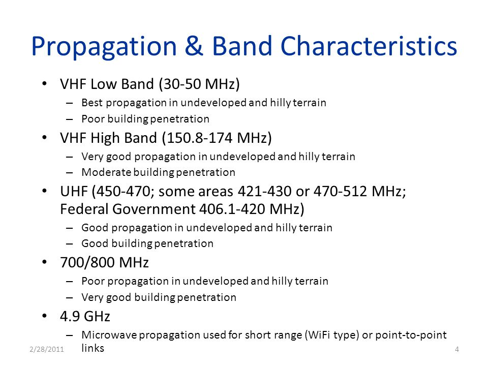 Propagation & Band Characteristics VHF Low Band (30-50 MHz) – Best propagation in undeveloped and hilly terrain – Poor building penetration VHF High B