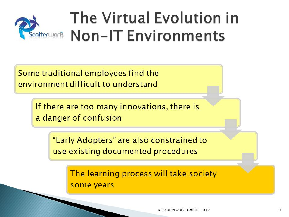 The Virtual Evolution in Non-IT Environments 11 Some traditional employees find the environment difficult to understand If there are too many innovations, there is a danger of confusion Early Adopters are also constrained to use existing documented procedures The learning process will take society some years © Scatterwork GmbH 2012