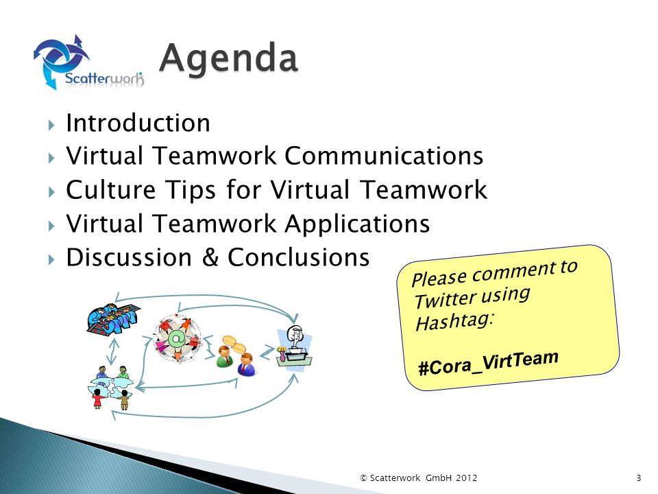 Agenda Introduction Virtual Teamwork Communications Culture Tips for Virtual Teamwork Virtual Teamwork Applications Discussion & Conclusions © Scatter