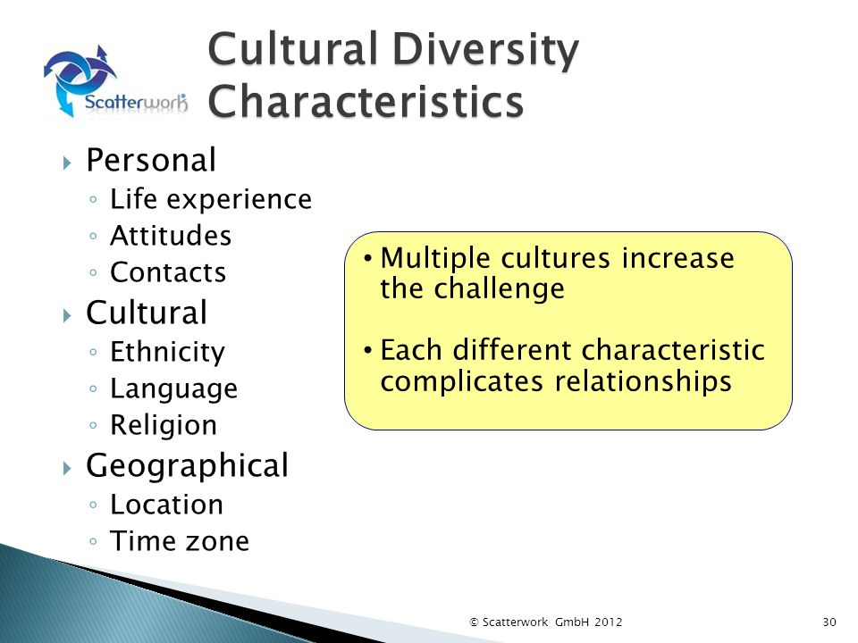 Cultural Diversity Characteristics Personal Life experience Attitudes Contacts Cultural Ethnicity Language Religion Geographical Location Time zone 30