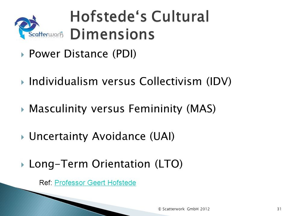 Hofstedes Cultural Dimensions Power Distance (PDI) Individualism versus Collectivism (IDV) Masculinity versus Femininity (MAS) Uncertainty Avoidance (UAI) Long-Term Orientation (LTO) 31 Ref: Professor Geert HofstedeProfessor Geert Hofstede © Scatterwork GmbH 2012