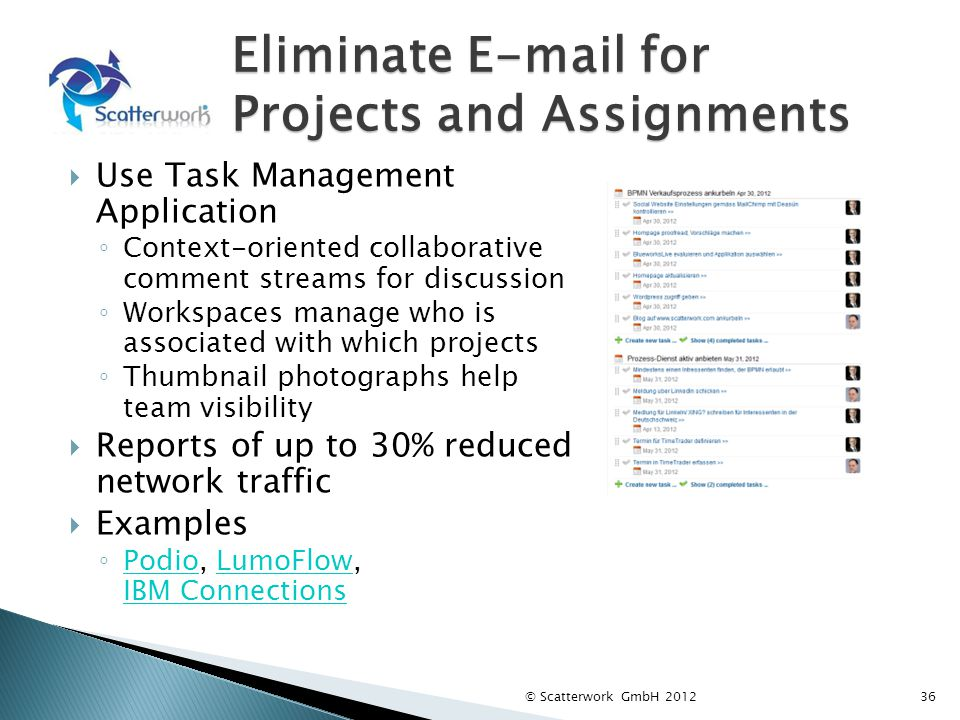 Eliminate E-mail for Projects and Assignments Use Task Management Application Context-oriented collaborative comment streams for discussion Workspaces manage who is associated with which projects Thumbnail photographs help team visibility Reports of up to 30% reduced network traffic Examples Podio, LumoFlow, IBM Connections PodioLumoFlow IBM Connections © Scatterwork GmbH 201236