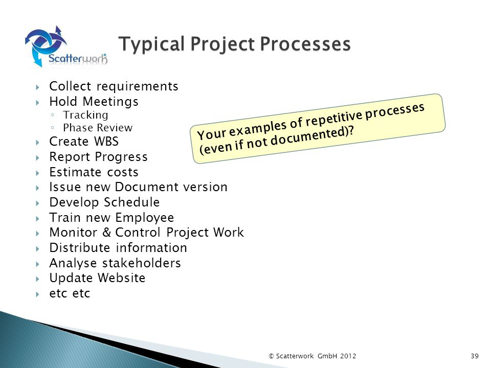 Typical Project Processes Collect requirements Hold Meetings Tracking Phase Review Create WBS Report Progress Estimate costs Issue new Document version Develop Schedule Train new Employee Monitor & Control Project Work Distribute information Analyse stakeholders Update Website etc etc Your examples of repetitive processes (even if not documented).