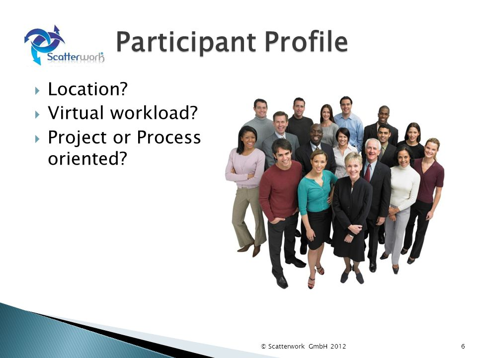 Participant Profile Location? Virtual workload? Project or Process oriented? © Scatterwork GmbH 20126