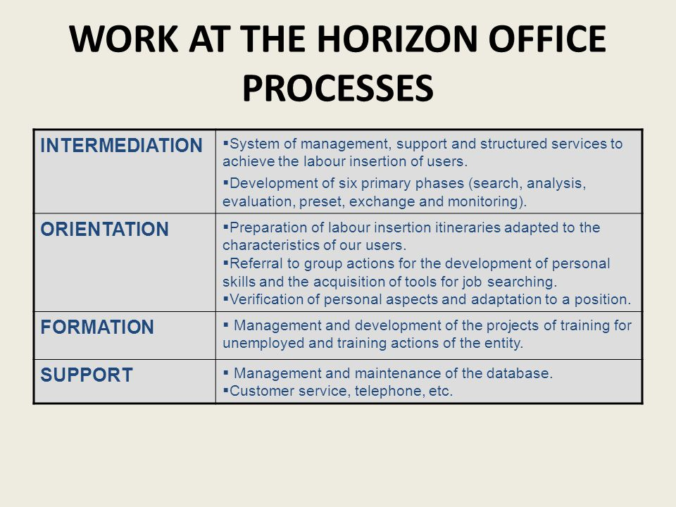 WORK AT THE HORIZON OFFICE PROCESSES INTERMEDIATION System of management, support and structured services to achieve the labour insertion of users.
