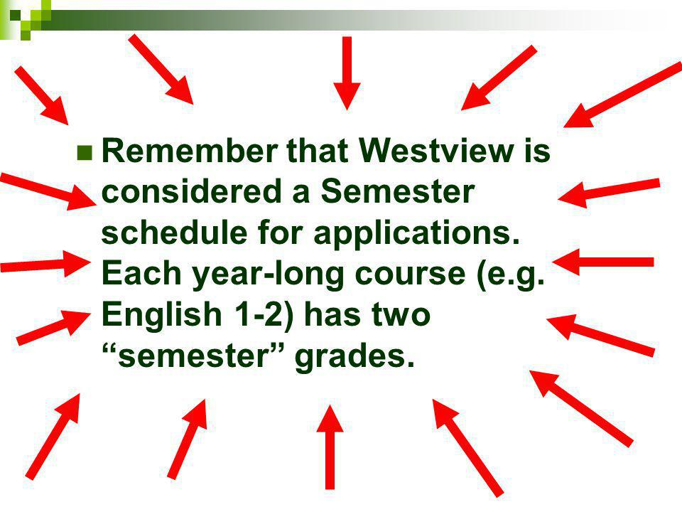 Remember that Westview is considered a Semester schedule for applications. Each year-long course (e.g. English 1-2) has two semester grades.