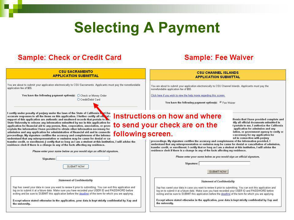 Selecting A Payment Sample: Check or Credit CardSample: Fee Waiver Instructions on how and where to send your check are on the following screen.
