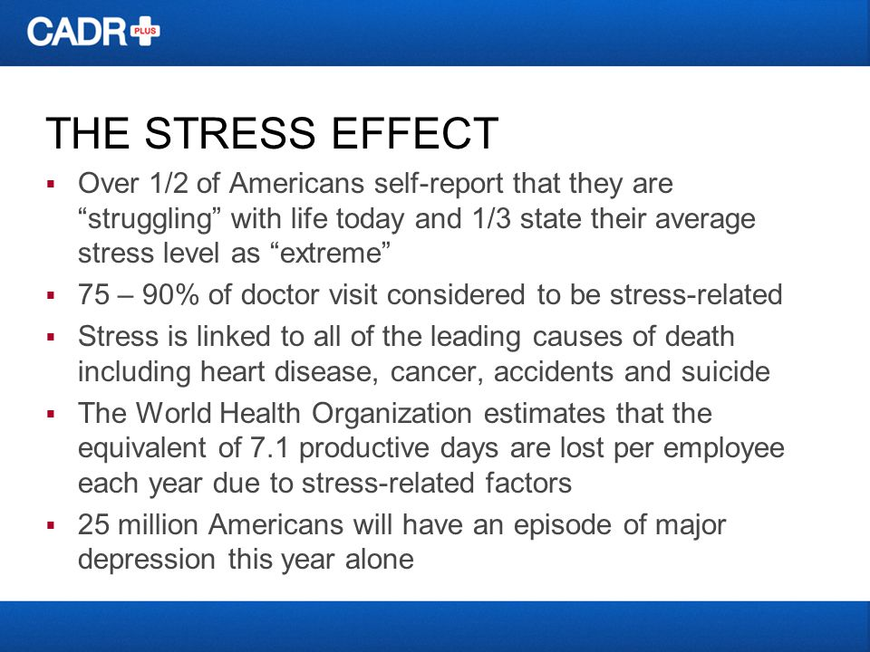 THE STRESS EFFECT Over 1/2 of Americans self-report that they are struggling with life today and 1/3 state their average stress level as extreme 75 – 90% of doctor visit considered to be stress-related Stress is linked to all of the leading causes of death including heart disease, cancer, accidents and suicide The World Health Organization estimates that the equivalent of 7.1 productive days are lost per employee each year due to stress-related factors 25 million Americans will have an episode of major depression this year alone