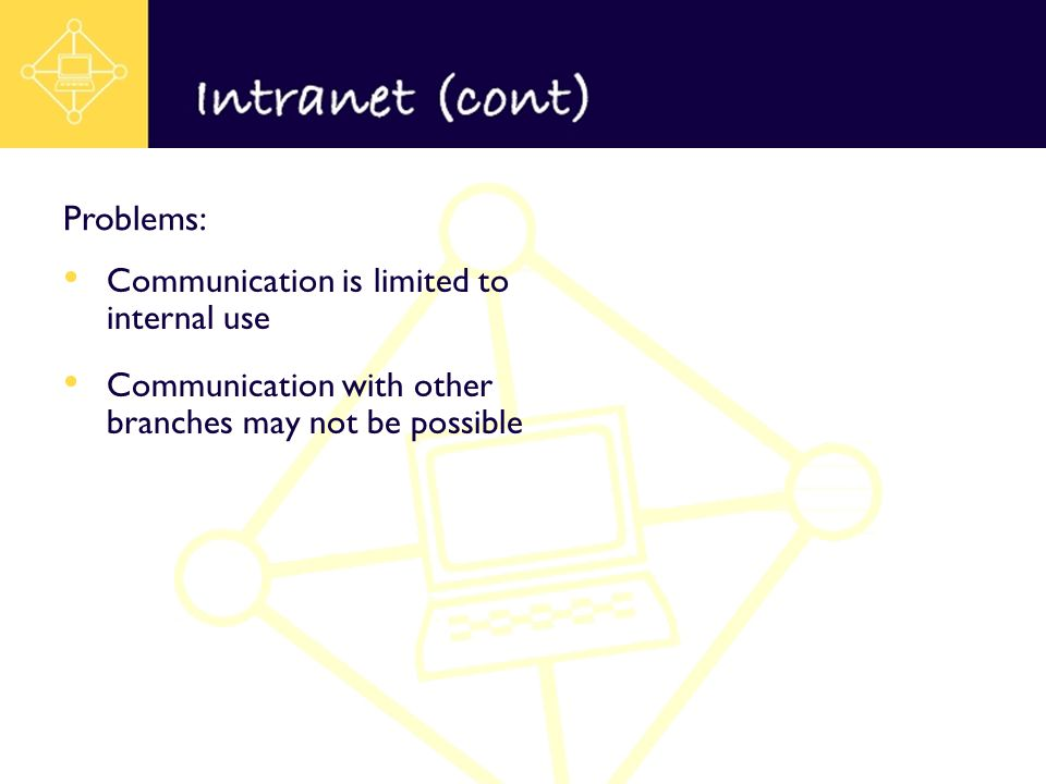 Communication is limited to internal use Communication with other branches may not be possible Problems: