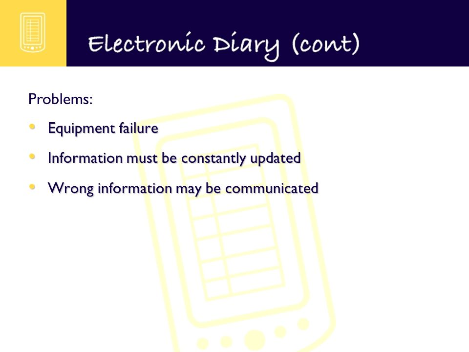 Equipment failure Equipment failure Information must be constantly updated Information must be constantly updated Wrong information may be communicated Wrong information may be communicated Problems: