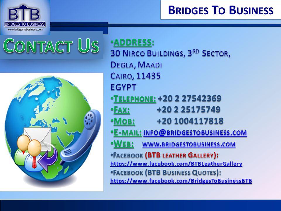 ADDRESS: ADDRESS: 30 N IRCO B UILDINGS, 3 RD S ECTOR, D EGLA, M AADI C AIRO, 11435 EGYPT T ELEPHONE : +20 2 27542369 T ELEPHONE : +20 2 27542369 F AX
