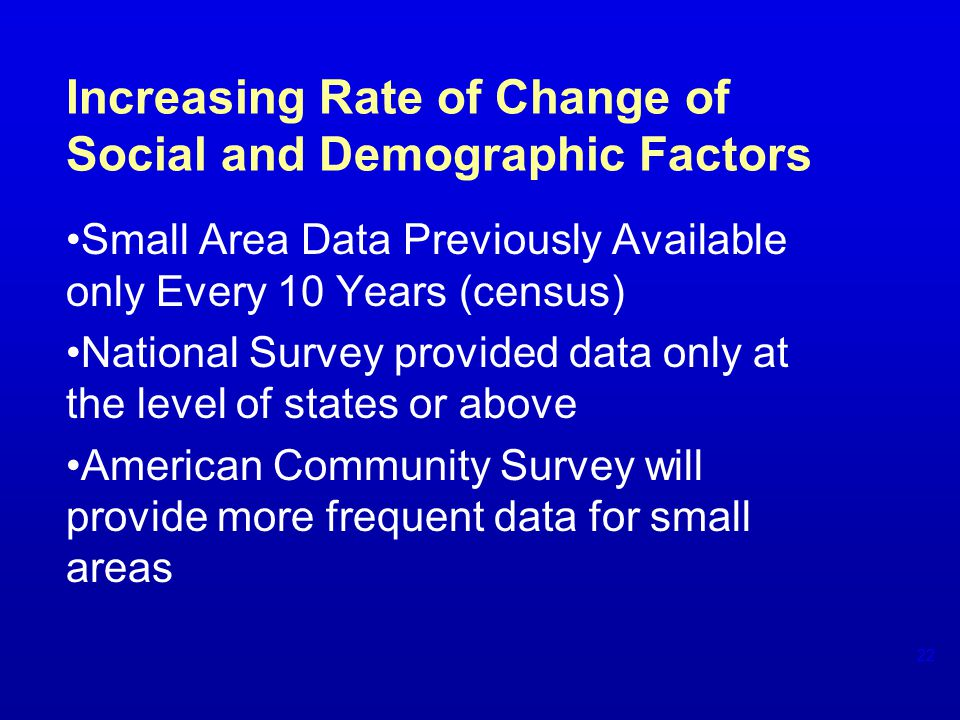 Increasing Rate of Change of Social and Demographic Factors Small Area Data Previously Available only Every 10 Years (census) National Survey provided data only at the level of states or above American Community Survey will provide more frequent data for small areas 22