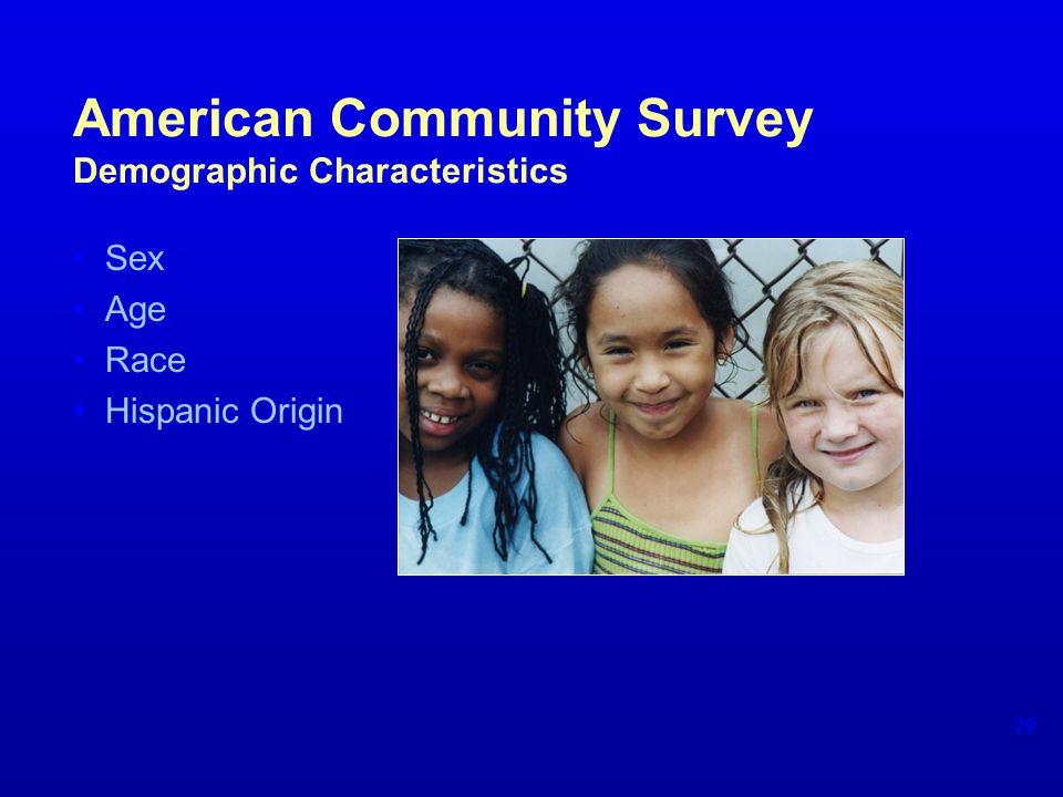 American Community Survey Demographic Characteristics Sex Age Race Hispanic Origin 29