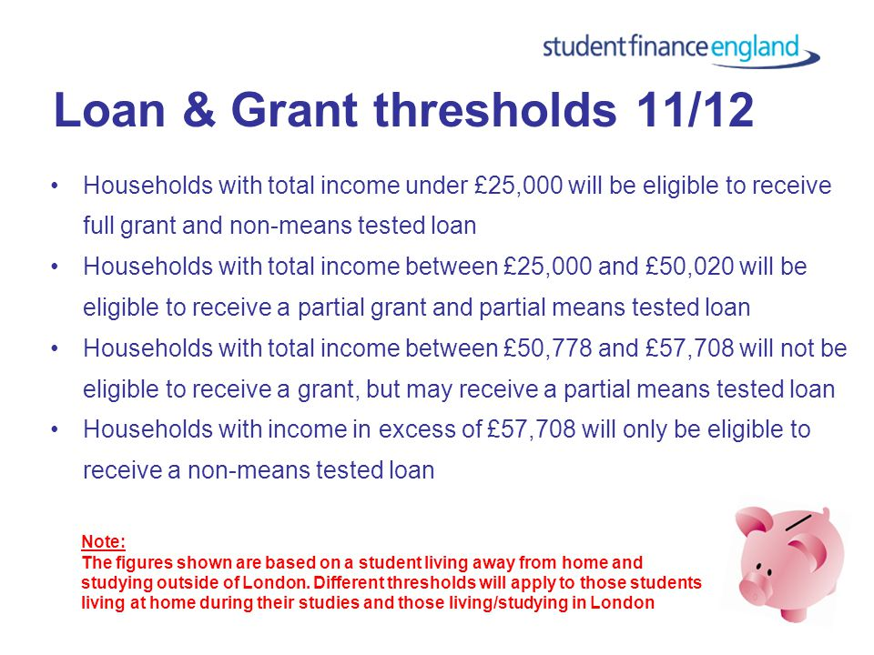 Grant amounts for 11/12 £2,906Frozen at 2010/11 rates; maximum maintenance grant: £2,906 Grant is fully means tested Grant is non-repayable Maintenance loan is reduced by 50p for each £1 of grant payable