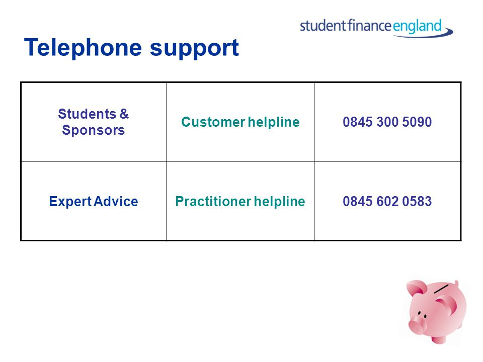 Online support Students, Parents & Partners Customer website www.direct.gov.uk/studentfinance Practitioners Practitioner website www.practitioners.studentfinanceengl and.co.uk Practitioner helpline team ssin_queries@slc.co.uk