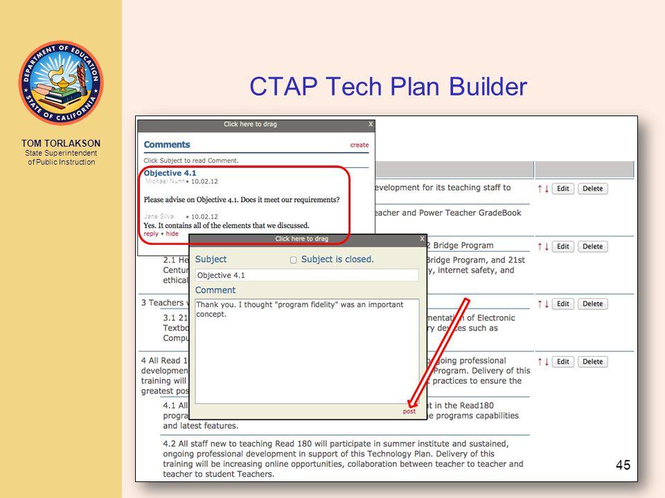 TOM TORLAKSON State Superintendent of Public Instruction CTAP Tech Plan Builder Michael Nunn Jane Silva Michael Nunn 45