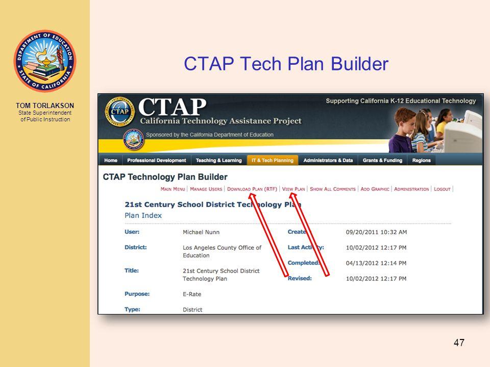 TOM TORLAKSON State Superintendent of Public Instruction CTAP Tech Plan Builder 47
