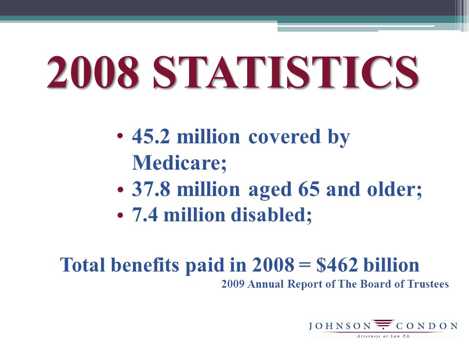 2008 STATISTICS 45.2 million covered by Medicare; 37.8 million aged 65 and older; 7.4 million disabled; Total benefits paid in 2008 = $462 billion 2009 Annual Report of The Board of Trustees