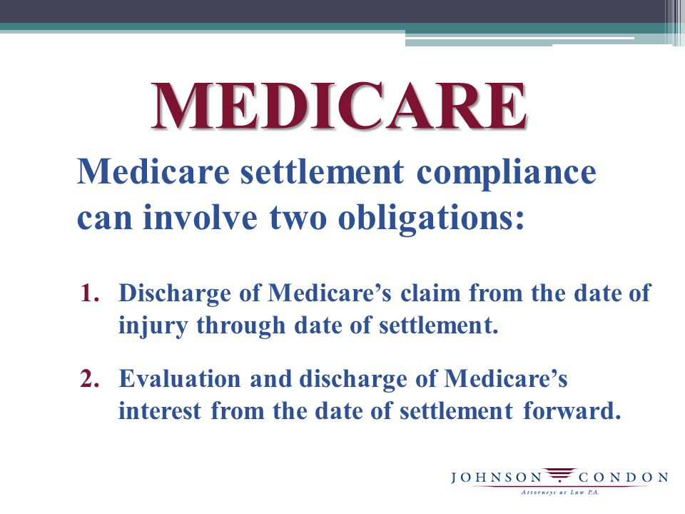 MEDICARE Medicare settlement compliance can involve two obligations: 1.