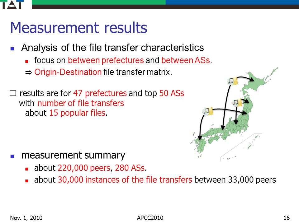 Measurement results Analysis of the file transfer characteristics focus on between prefectures and between ASs. Origin-Destination file transfer matri