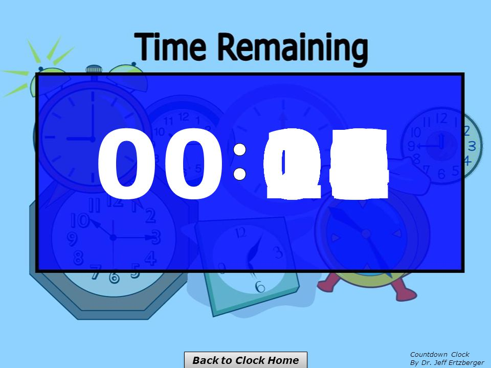 00 15141312111009080706050403020100 Back to Clock Home Countdown Clock By Dr. Jeff Ertzberger