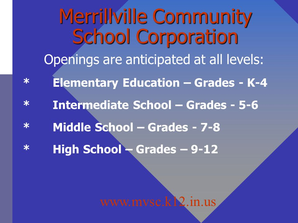 Merrillville Community School Corporation Openings are anticipated at all levels: *Elementary Education – Grades - K-4 *Intermediate School – Grades - 5-6 *Middle School – Grades - 7-8 *High School – Grades – 9-12 Openings are anticipated at all levels: *Elementary Education – Grades - K-4 *Intermediate School – Grades - 5-6 *Middle School – Grades - 7-8 *High School – Grades – 9-12 www.mvsc.k12.in.us