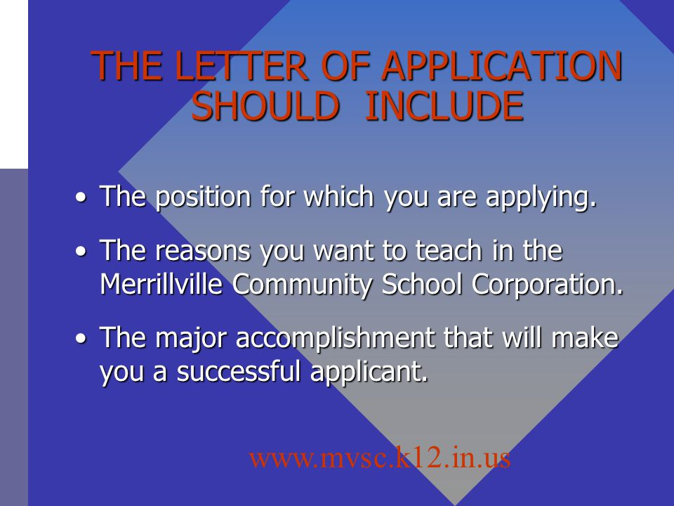 THE LETTER OF APPLICATION SHOULD INCLUDE The position for which you are applying.The position for which you are applying.
