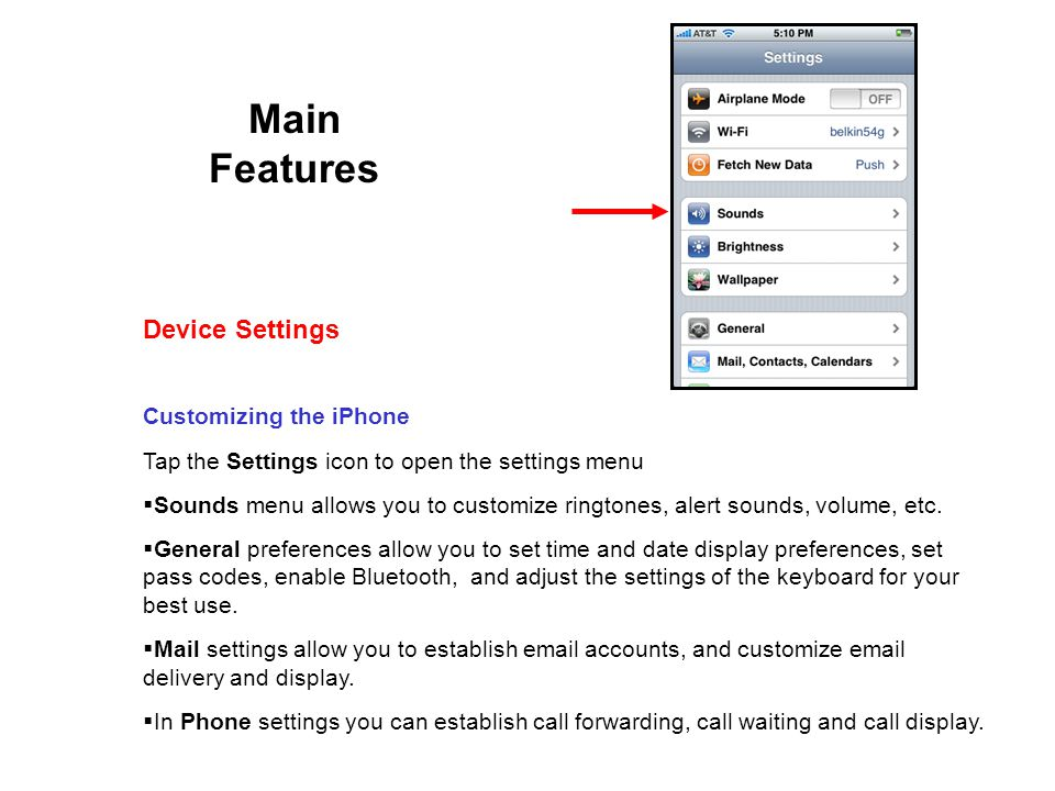 Main Features Customizing the iPhone Tap the Settings icon to open the settings menu Sounds menu allows you to customize ringtones, alert sounds, volume, etc.