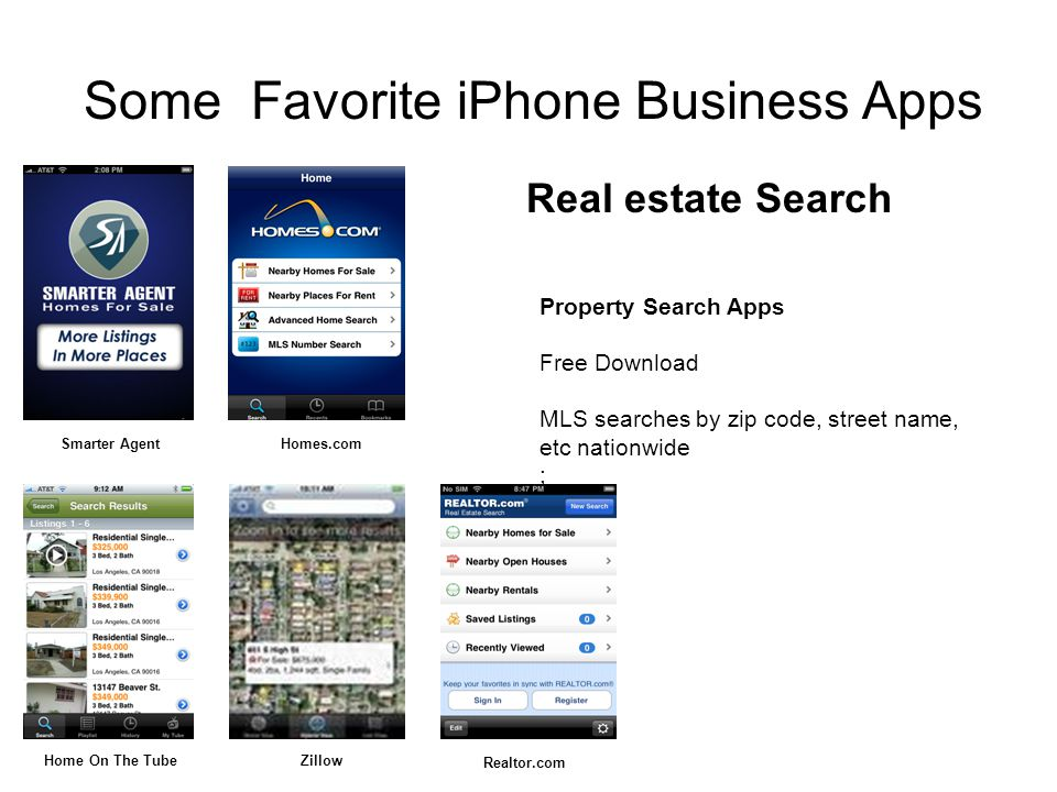 Property Search Apps Free Download MLS searches by zip code, street name, etc nationwide ; Real estate Search Some Favorite iPhone Business Apps Smarter AgentHomes.com Home On The TubeZillow Realtor.com