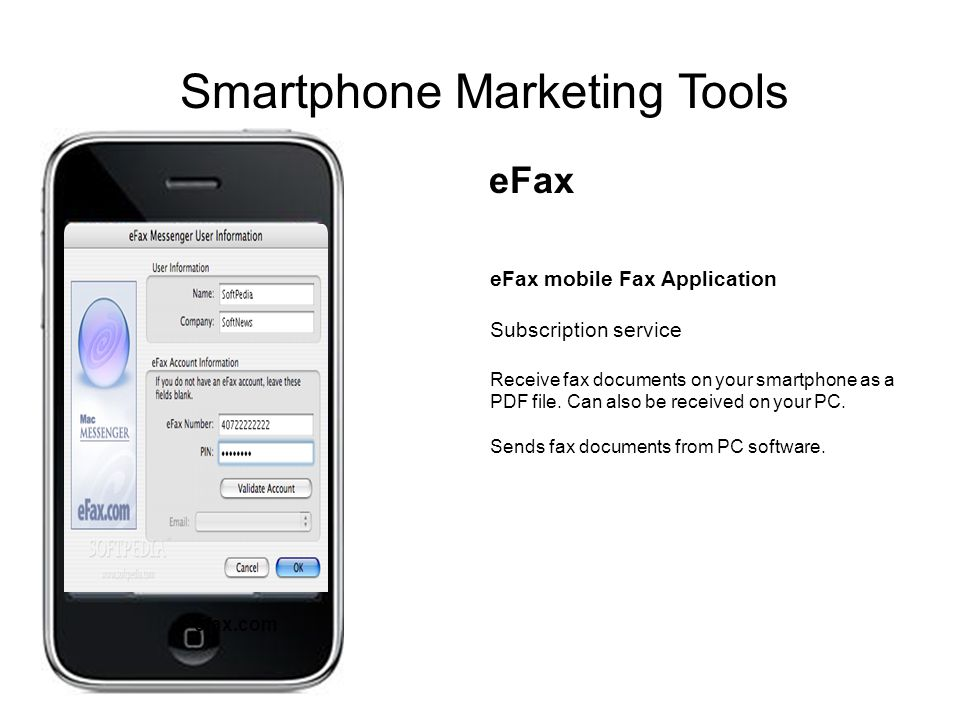 eFax mobile Fax Application Subscription service Receive fax documents on your smartphone as a PDF file.