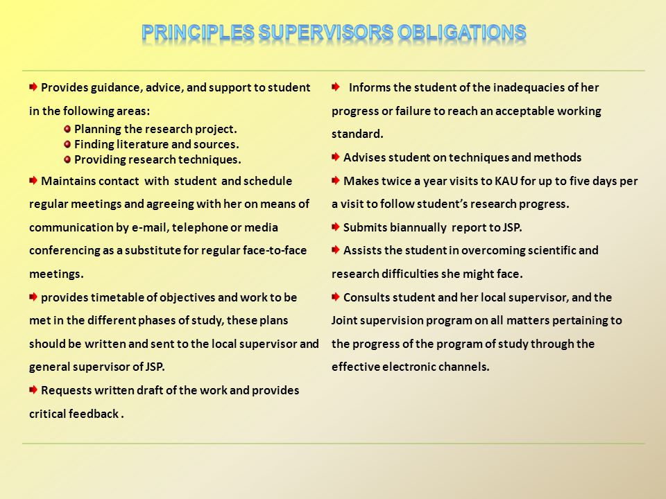 Provides guidance, advice, and support to student in the following areas: Planning the research project.