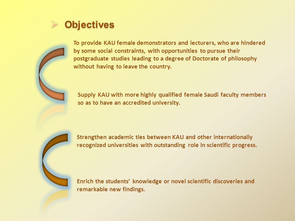 To provide KAU female demonstrators and lecturers, who are hindered by some social constraints, with opportunities to pursue their postgraduate studies leading to a degree of Doctorate of philosophy without having to leave the country.