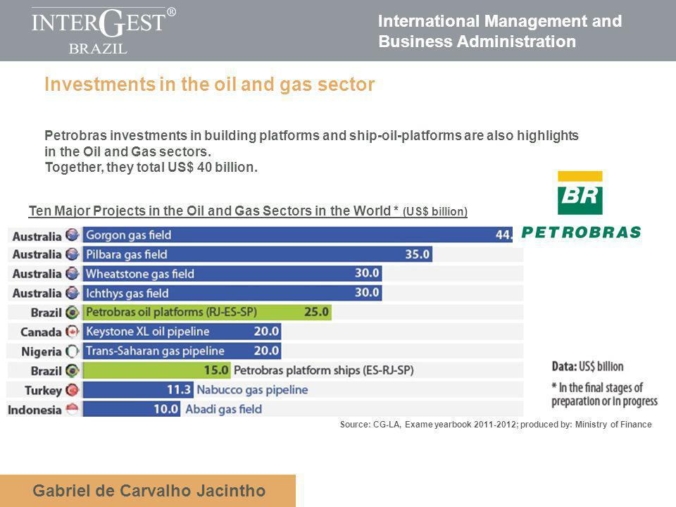 International Management and Business Administration Gabriel de Carvalho Jacintho Investments in the oil and gas sector Petrobras investments in building platforms and ship-oil-platforms are also highlights in the Oil and Gas sectors.