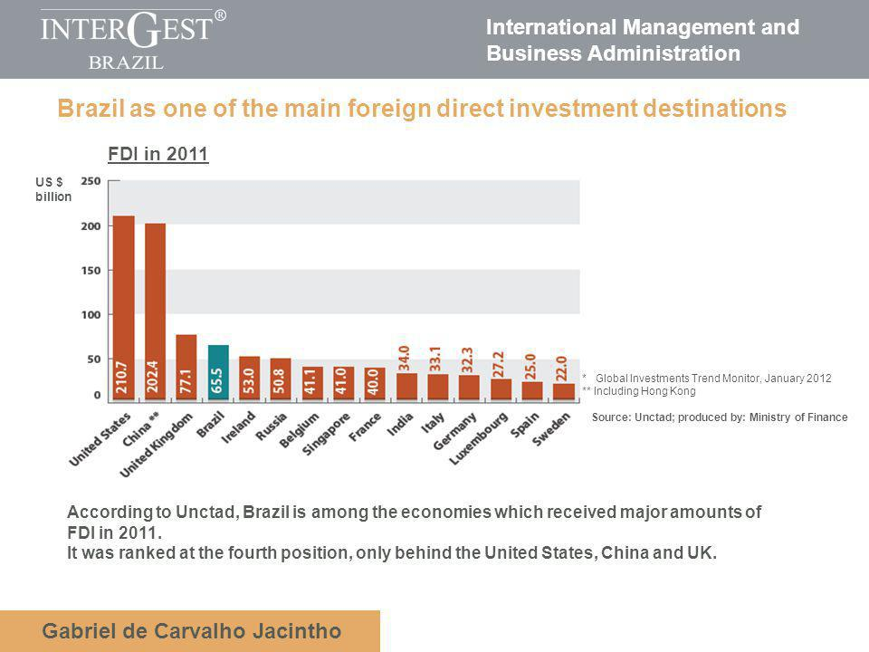 International Management and Business Administration Gabriel de Carvalho Jacintho Brazil as one of the main foreign direct investment destinations According to Unctad, Brazil is among the economies which received major amounts of FDI in 2011.